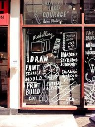 hand drawn window graphics / To be used as a white board / thought shower