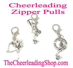 Add some spirit to your cheer backpacks or jackets with these Cheerleading Zipper Pulls! TheCheerleadingShop.com