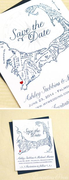 Cape Cod Save the Date Antique Map by ConcertinaPress on Etsy