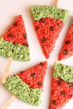 Watermelon Rice Krispie Treats on SixSistersStuff.com