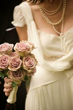 draped dress & antique roses by ida