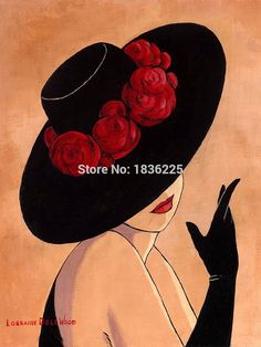 Lorraine Dell Woo Flirty Hat - Lorraine Dell Woo Flirty Hat All Art Painting Sculpture Poetry Music - Arte Pop, Red Hats, All Art, Painting & Drawing, Watercolor Painting, Fashion Art, Art Drawings, Art Projects, Illustration Art