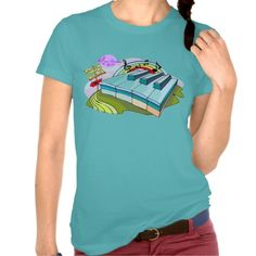 Colorful Piano Keys Turquoise Fine Jersey T-Shirt by #MoonDreamsMusic #JerseyTshirt #PianoKeys #TurquoiseTshirt