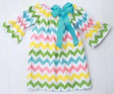 Southern Tots Girl Chevron Peasant Dress with Aqua Bow