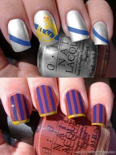 Real Madrid and FC Barcelona Nails. love the barca nails ; Soccer Nails, Football Nails, Real Madrid, Cute Nails, Pretty Nails, Hair And Nails, My Nails, Tumblr Nail Art, Football Fashion