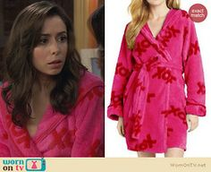 "The Mother's pink ""XOX"" robe on How I Met Your Mother: XOX Plush Robe by Betsey Johnson at Amazon, $55"