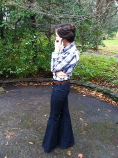 Bell bottoms and plaid. Not sure I could pull this off but I like it.