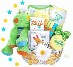 """""""Playful Pastimes """" Personalized Baby Gift Basket    Colorful and playful, this simply adorable Froggy basket is the perfect baby gift for a boy or girl! The new mom will jump for joy over the first essentials included in this thoughtful gift! The adorable plush frog with its crooked smile is so soft and enormous at 14"""" tall! The hooded towel and burp cloth can be embroidered with the baby's name  http://storkbabygiftbaskets.com/personalized-playful-pastimes-froggy-gift-basket.html#"""