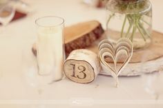 A great centerpiece idea! I <3 the paper heart! It's a sweet added touch!