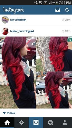20 Ideas for Red Ombre Hair 20 ideas for red ombre hair. List of red ombre hair colors. Red ombre hair color ideas for a bold new look. Bright Red Hair, Brown Ombre Hair, Ombre Hair Color, Hair Colors, Red Velvet Hair Color, Dark To Red Ombre, Dark Red, Color Red, Red Hair Accessories