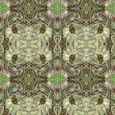 Military shades of khaki and green join art nouveau twisting vines and camouflage colored flowers over a dotted and pseudo batik background on which pink buds wait, and hearts form out of curly tendrils.  (file w196R2, #4932024)