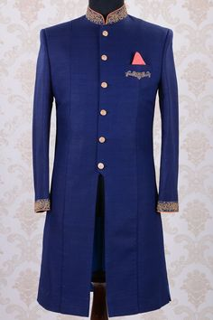 Buy Indo Western Sherwani-Dark Blue Online Blue Sherwani, Mens Sherwani, Kurta Men, Wedding Sherwani, Wedding Dress Men, Wedding Jacket, Wedding Suits, Indian Men Fashion, Mens Fashion