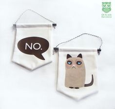 GRUMPY CAT Wall banner DUO. Hand painted cat. 2 Mini Wall Banner. Grumpy cat wall banner by OtloxotBarcelona on Etsy