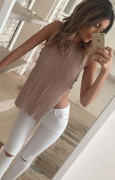 Dusty Pink Knit + White Knee Slit Jeans                                                                             Source