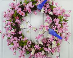 Cherry Blossom Wreath Spring Wreaths for Font Door Decorations Spring Door Wreaths Spring Wreaths for Front Door Wreaths Year Round Wreaths