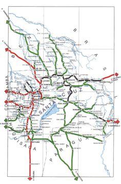 Map of road network in Santa Cruz de la Sierra.
