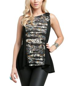 Take a look at this Black & White Zebra Sheer Back Top by Buy in America on #zulily today! $15 !!