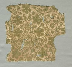 Silk Fragment with Scrolling Vines, Grape Leaves, Grapes and Birds, 1325-1350 Italy, second quarter of the 14th century silk; a combination of two weaves, plain weave and plain weave (lampas), Overall - h:24.00 w:25.20 cm