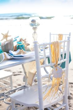 Beach wedding décor.