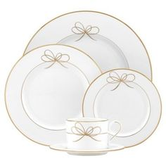 Check out this item at One Kings Lane! 5-Pc Gold Bow Place Setting