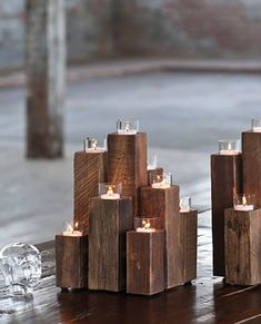 Purchase Holiday lights-Rustic Decor-Unysyn Elm Staggered Tealight Pillars from Small Things After All on OpenSky. Share and compare all Home. Church Stage Design, Wooden Candle Holders, Deco Table, Diy Candles, Dot And Bo, Rustic Decor, Rustic Theme, Wood Crafts, Wood Projects