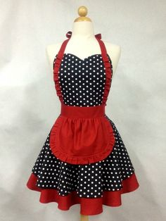 Apron French Maid Polka Dot with Red Double Circle Skirt image 0 Vintage Pirate Tattoo, Cute Aprons, Apron Designs, Sewing Aprons, Aprons Vintage, Vintage Sewing, Creation Couture, Kitchen Aprons, Sewing Hacks