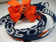 Denver Broncos Dog Collar and Leash Medium by KadysPetCouture, $34.00