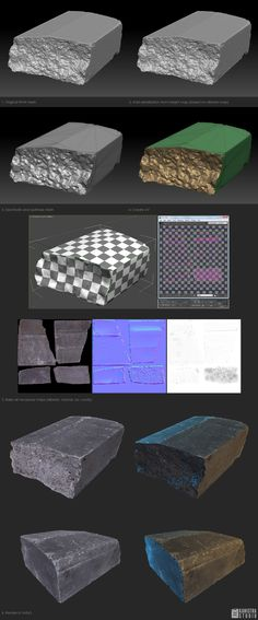 From RAW scan to gameready model Zbrush Tutorial, 3d Tutorial, 3d Building Models, Normal Map, Modeling Techniques, Game Resources, 3d Texture, Cg Art, Modeling