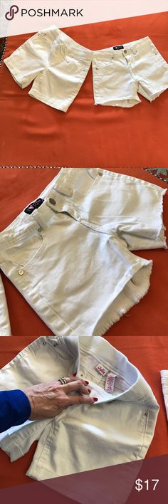 White Jean Shorts 2 Pairs One Denim pair from Justice with comfy waist, another i ❤️ pinc with frayed edges. Both in EUC and barely worn. No stains or noticeable wear! Perfect for Spring Break! Justice Bottoms Shorts