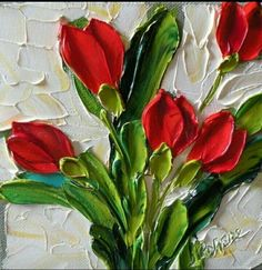 Red Tulips Painting by Jan Ironside - Red Tulips Fine Art Prints and Posters for Sale -Jan Ironside used a palette knife to heavily apply paint, creating an interesting painterly texture. Tulip Painting, Painting & Drawing, Watercolor Painting, Texture Painting, Pallette Knife Painting, Painting Inspiration, Flower Art, Fine Art Prints, Canvas Art