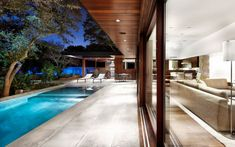 Decoration: Connecting Environments Small Private Pool White Pool Chairs Metal Outdoor Furniture Wooden Ceiling Transparent Glass Walls Green Backyard Design Ideas: Dissolving Restrictions : Residence Surrounded by Trees in Austin, Texas Interior Architecture, Interior And Exterior, Interior Design, Residential Architecture, Limestone House, Houses In Austin, Texas Houses, Design Blog, House Built
