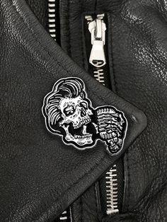 Rockabilly Greaser Skull w/ Vintage Microphone  Enamel Lapel