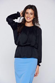 Comanda online, Bluza dama PrettyGirl neagra eleganta cu elastic in talie. Articole masurate, calitate garantata!