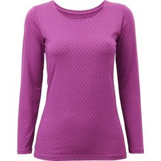 UNIQLO HEATTECH Dot Print Crew Neck T-Shirt ($19) ❤ liked on Polyvore featuring tops, polka dot top, dot print shirt, crew neck shirt, polka dot shirt and purple top