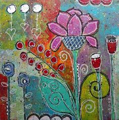 """Doodling and Painting on Canvas - Tutorial -- """"Love Grows"""" - mixed media"""