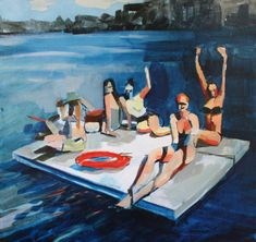 Women on a Raft  Erica Lambertson  United States    Painting  Size: 18 H x 18 W x 1.5 in