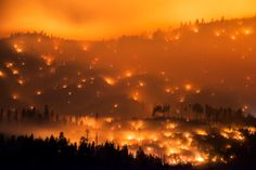 Photographer Chase Wildfires at Night-Time