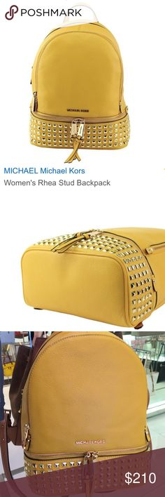 MK Rhea studded backpack sunshine Polished studs lend luxe shine to this pebbled-leather MICHAEL Michael Kors backpack. 2 exterior zip pockets outfit the front. The wraparound top zip opens to a lined interior with 3 pouch pockets and 1 zip pocket. Locker loop and adjustable shoulder straps. Dust bag included. MICHAEL Michael Kors Bags Backpacks
