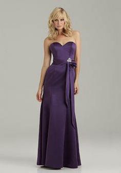 Satin A line Sweetheart Floor Length Natural Waist Bridesmaids