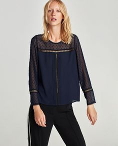 TOP WITH CONTRASTING DOTTED MESH - Available in more colours