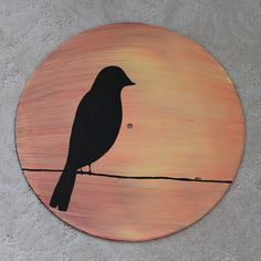 Vinyl Record featuring a silhouette of a bird on a wire against an orange sunset.  Painted on a 12 LP.