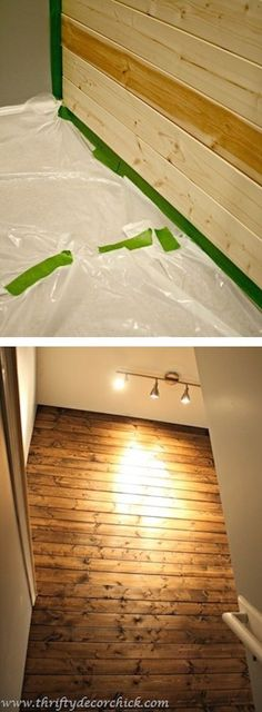 DIY: How to install a wood wall tutorial. -- A list of some of the best home remodeling ideas on a budget. Easy DIY, cheap and quick updates for your kitchen, living room, bedrooms and bathrooms to help sell your house! Lots of before and after photos to get you inspired! Fixer Upper, here we come. Listotic.com