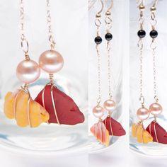 #sunriseshell #pearls #redseaglass #blackonyx #14kgoldearrings #giftforher