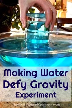 Making Water Defy Gravity Experiment is part of Science Museum Experiment - Is there a way to defy gravity Can something that normally falls to the ground simply not fall Let's try with this gravity experiment Gravity Experiments, Water Experiments For Kids, Gravity Science, Science Activities For Kids, Preschool Science, Stem Activities, Physics Experiments High School, Science Projects, Science Week