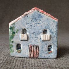 Small Blue Ceramic House,Little Blue Clay House,Mediterranean House,Tuscan,Tiny House,Rustic Small House,Provence House,Small Pottery House