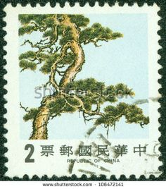 TAIWAN - CIRCA 1988: A stamp printed in Taiwan (Republic of China) shows Pine Tree one of three symbols of winter time, circa 1988
