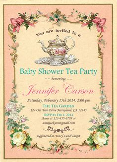 Elegant Baby Shower Tea Party Invitation. by ThePaperWingCreation