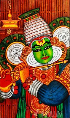 Buy Fine art painting Kathakali Mural Art by Artist Unknown Artist Kerala Mural Painting, Indian Art Paintings, Krishna Painting, Madhubani Painting, Dot Painting, Fabric Painting, Figure Painting, Painting & Drawing, Bottle Painting
