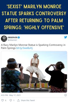 """Controversy is erupting in Palm Springs, California after it was reported the infamous 26-foot statue of Hollywood legend Marilyn Monroe would be returning to the city. The statue, which recreates one of Marilyn's most iconic on-screen moments, is being called out for its sexism as fans can """"upskirt"""" the statue by standing under it."""