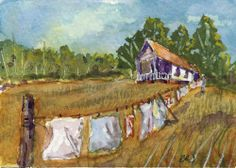 """Just Hanging"" ACEO, Art Card (2.5X3.5in.), Landscape, Impressionism, B. Jones #Impressionism"